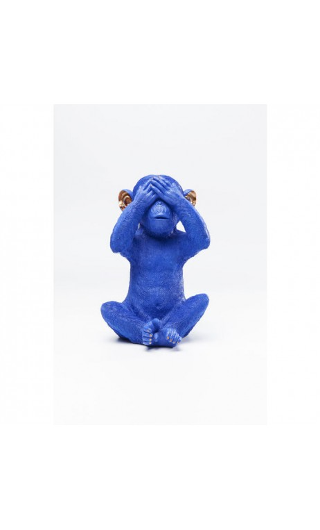 TIRELIRE CHIMPANZE BLEU MIZARU KARE DESIGN