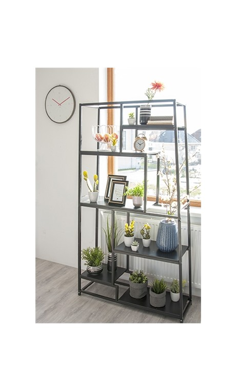 ETAGERE METAL ET VERRE NOIR FUSHION PRESENT TIME