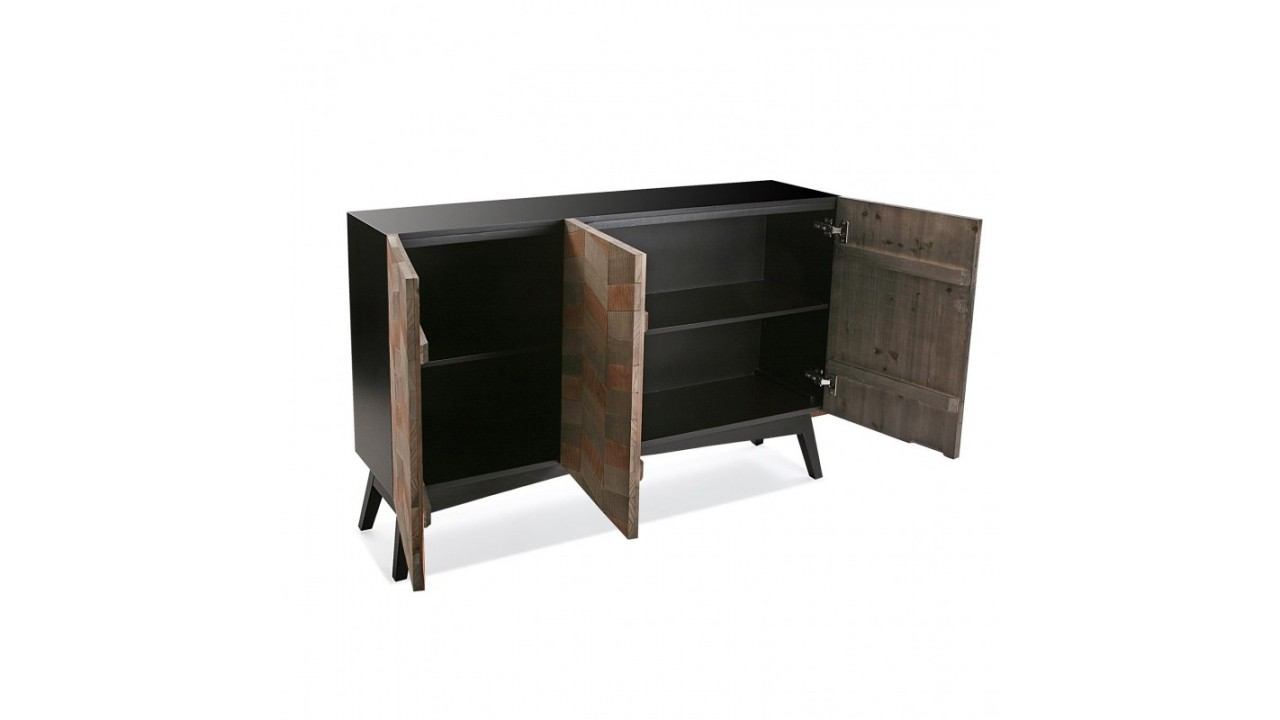 achetez votre buffet 3 portes bois nuanc et noir skagen. Black Bedroom Furniture Sets. Home Design Ideas