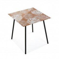 TABLE D'APPOINT MOTIF TROPICAL ORANGE NEW LEAVES VERSA