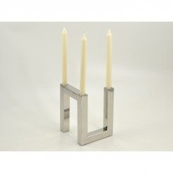 LOT DE 2 BOUGEOIRS 3 SUPPORTS METAL CHROME LUMINEUX