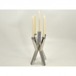 Lot de 2 bougeoirs arbre chromé 4 supports LUMINEUX