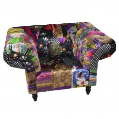 FAUTEUIL TISSU PATCHWORK BRODES MULTICOLORES SILKY