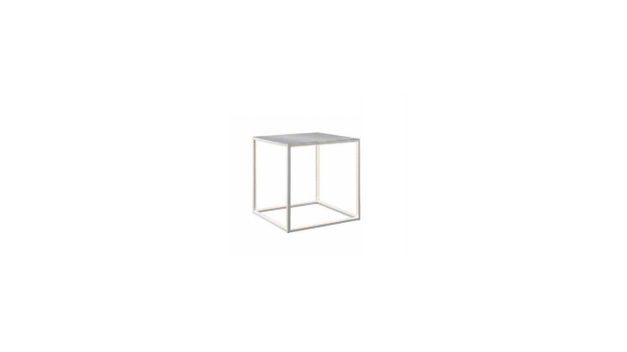 table d 39 appoint blanche cube led aluminium delux pas cher. Black Bedroom Furniture Sets. Home Design Ideas