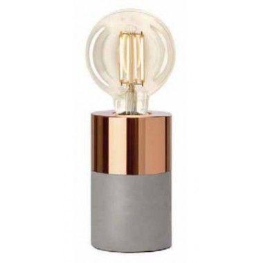 LAMPE A POSER EFFET BETON GRIS ET CUIVRE ATHEN SOMPEX
