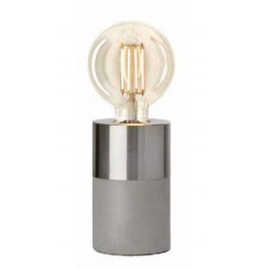 Lampe à poser effet béton gris et chrome CHARGE