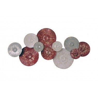 Décoration murale disques rouges et gris BEAUX-ARTS