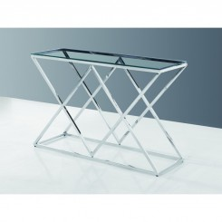 Console design verre et chrome MADISON 120 cm