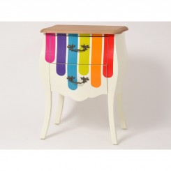Table de chevet bandes multicolores WONDERFUL