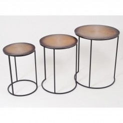 Set de 3 tables d'appoints métal JANNA