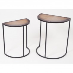 Set de 2 tables d'appoints métal JANNA