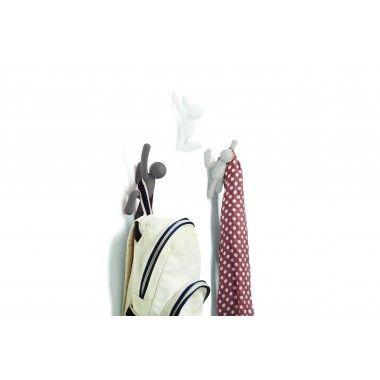 Set de 3 crochets muraux gris blanc BUDDY