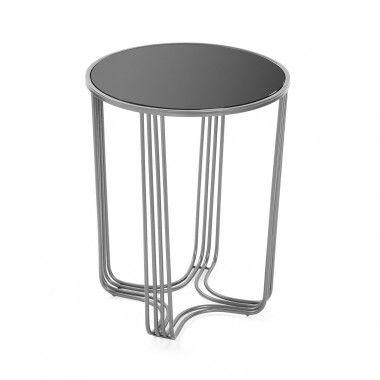 Table d'appoint grise et verre trempée AUXILIAR