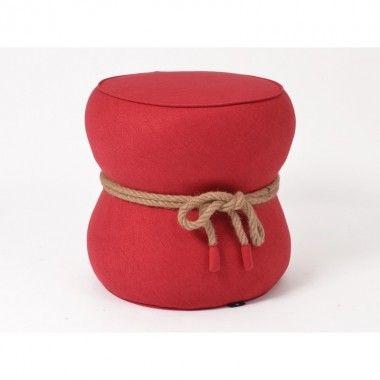 Pouf rouge avec noeud corde SWEET