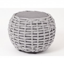 Pouf gris tressage corde SMOOTH