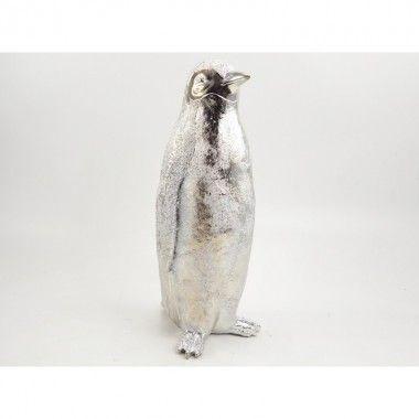 Statue à poser pingouin argentée POLAIRE 48 cm