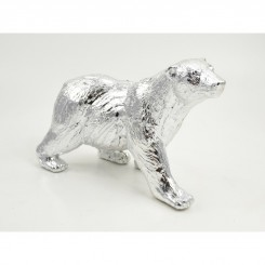 Statuette à poser ours polaire argentée SILVER 31 cm