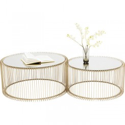 Set de 2 tables basses laiton et miroir WIRE