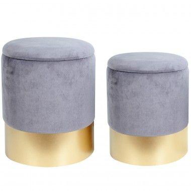 Set 2 poufs gris socle doré RANGE