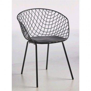 Fauteuil design dossier grille noir WET
