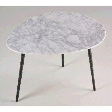 Table basse plateau ovale marbre COTTON 83 cm