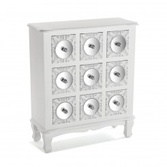 Commode blanche 9 tiroirs miroirs INDRA
