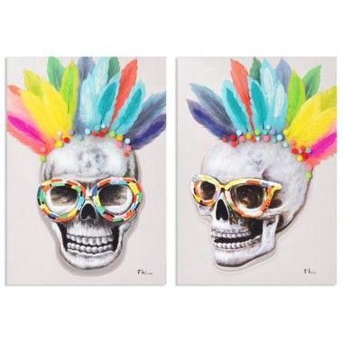 Set de 2 tableaux peintures crânes plumes COLORE 100 X 70 cm
