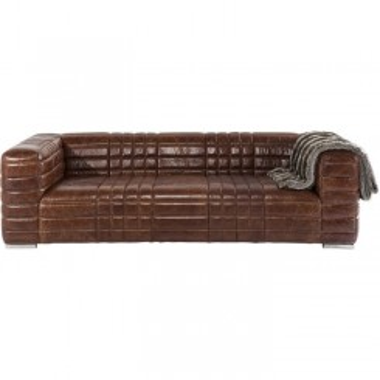Canapé vintage 4 places cuir marron SQUARE DANCE