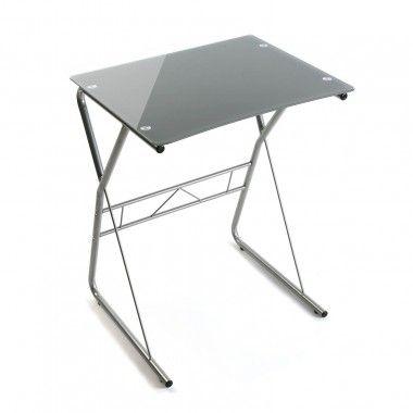 Table de bureau pour ordinateur portable grise argent VERO