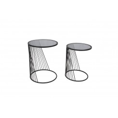 Set de 2 tables d'appoints verre fumé ELECTROCHIC