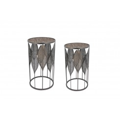 Set de deux tables d'appoints feuilles métal ART DE FER