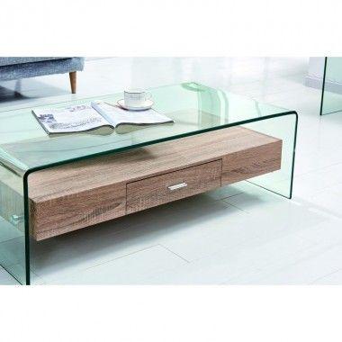 Table basse design tiroir bois RICHMOND