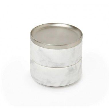 Boite à bijoux marbre blanc et chrome TEROSA