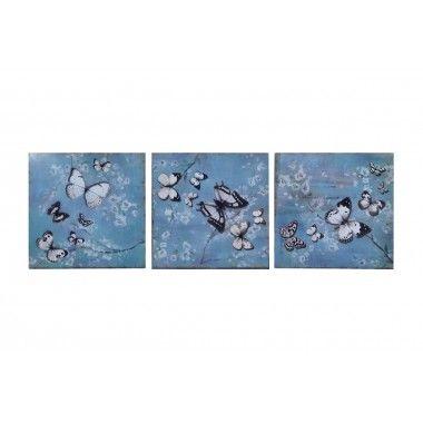 Tableau tryptique papillons métal BEAUX ARTS