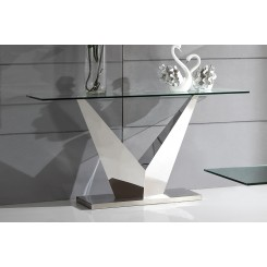 Console verre pied V effet miroir IKONIC