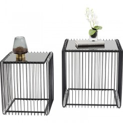 Set de 2 tables d'appoint noires WIRE