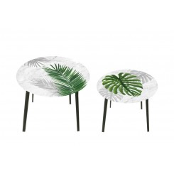 Lot de 2 tables d'appoints jungle HARMONIE