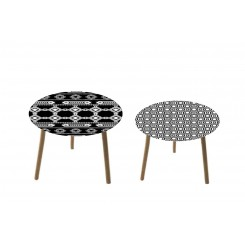 Lot de 2 tables d'appoints géométriques HARMONIE