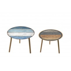 Lot de 2 tables d'appoints vintages HARMONIE