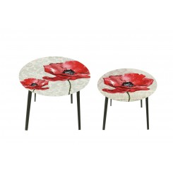 Lot de 2 tables d'appoints coquelicot HARMONIE