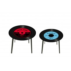 Lot de 2 tables d'appoints disques HARMONIE