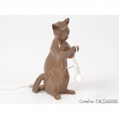 Lampe chat marron debout SHADOW