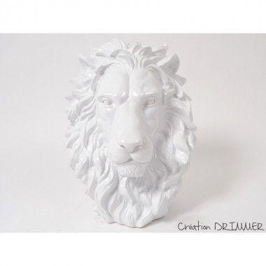 Statue à poser tête de Lion blanche KING
