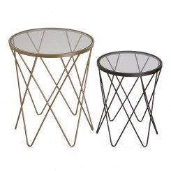 Set de 2 tables d'appoints plateau verre REDONDAS