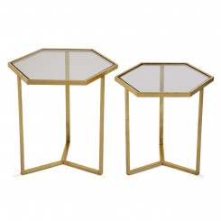 Set de 2 tables d'appoints plateau verre HEXA