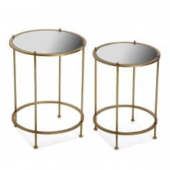 Set de 2 tables d'appoints doré REDONDAS