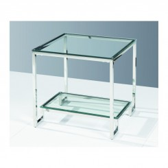 Table d'appoint verre et chrome LIMPIDE