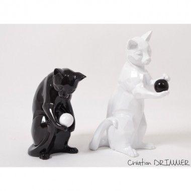 Set de 2 chats décoratifs noir et blanc SHADOW