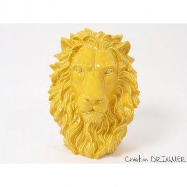 Statue à poser tête de lion jaune KING
