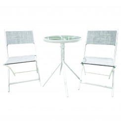 Salon de jardin table + 2 chaises blanches SUMMER